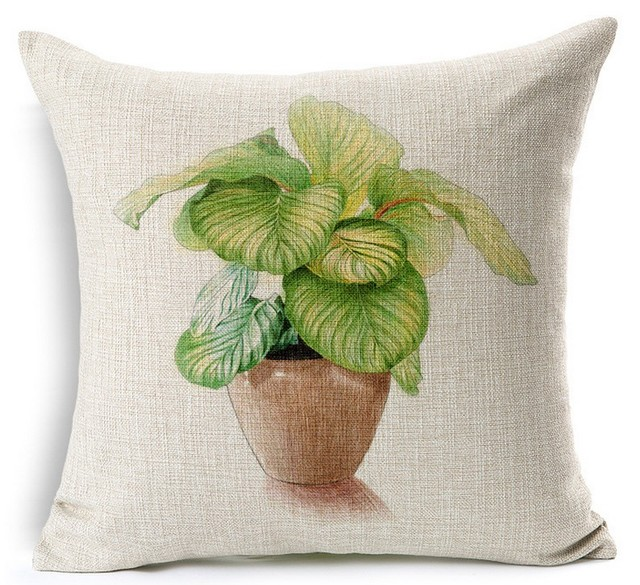 Flowerpot Plant Green Seed Bonsai Vase Hand Painted Pillows Emoji Euro Home  Decor Pillow Environment