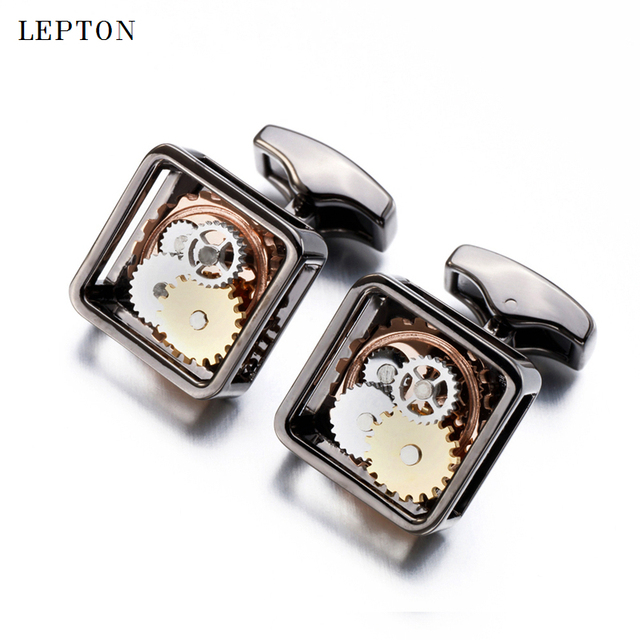 Square Steampunk Gear Cufflinks Lepton Watch Mechanism Cuff Links Business Wedding Relojes Gemelos