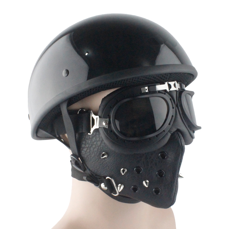 LDMET cascos párr moto media cara casco harley casco moto vintage moto rcycle casco piloto de verano Luz retro alemán