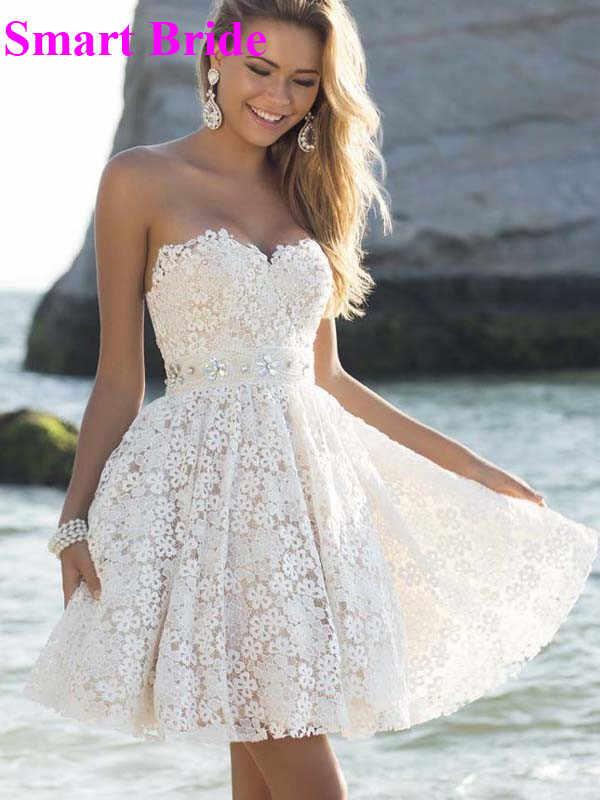 Short Lace Bridal Wedding Dresses A Line Elegant Strapless Bridesmaids Dress For Beach Weddings Open Back Above Knee Length Vw1