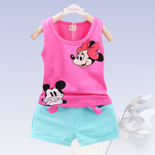 Children Suit 2017 Summer Childre Clothing 1-3 year Old Boy and Girl Clothes Baby Vest + Shorts 2pcs Mickey Cartoon Baby Clothes стоимость
