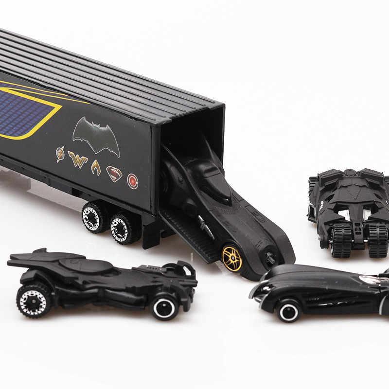 1:64 The Avengers Iron Hulk Loki Spider-man Captain America Batman Batmobile 7pcs Alloy cars set truck model toys For Children