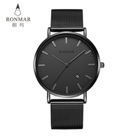 Ronmar Watches for Men Fashion Ultra Thin Watches Stainless Steel Quartz Men Watches Calendar Waterproof Wrist Watches with