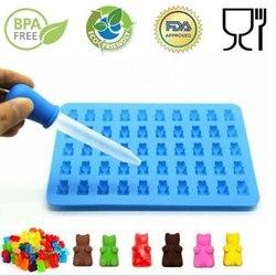 Forma de silicone molde de silicone forma de urso gummy molde geléia urso bolo bandejas de doces com conta-gotas de borracha fabricante de chocolate 11%