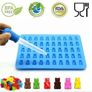 Silicone Forms Silicone Mold Gummy Bear Shape Bear Mould Jelly Bear Cake Candy Trays With Dropper Rubber Chocolate Maker 11%