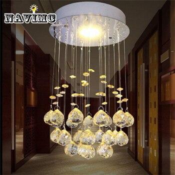Moderne Petit Cristal Led Plafond Lumieres Lampe Messenger Couloir