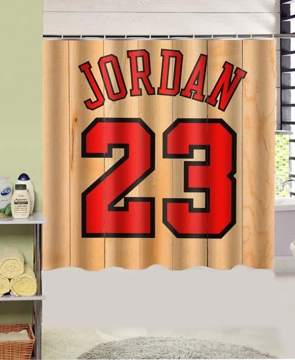 Michael Jordan Jersey 23 Design Polyester Fabric Shower Curtain 180x180 Cm Waterproof Mildewproof Curtains