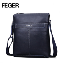 FEGER Fashion Men's Soft Genuine Cowhide Leather Shoulder Bag Male Grain Leather Business Office Bag