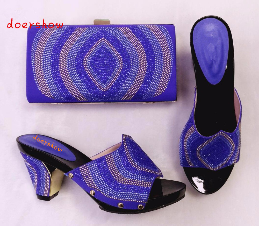Italian African Shoes And Bag Set For Party In Women Italian Matching Shoe And Bag Set Wedding High Quality doershow HHY1-29 capputine new arrival fashion shoes and bag set high quality italian style woman high heels shoes and bags set for wedding party
