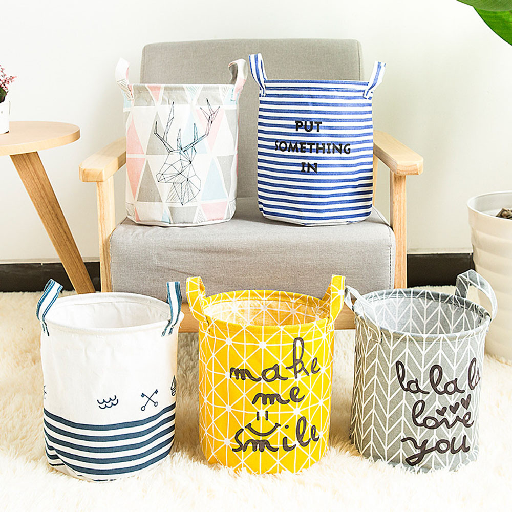 1PC Foldable Clothing Storage Bin Closet Toy Box Cloth Folding Container Basket Holder With 2 Side Handle Case Letter Print 5.20