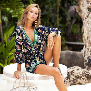 Pareo For Beach Swimsuit Women Dress Sarongs Cover Up Plus Size Saida De Lace Clothing New Neck Printed Long Sleeve Couplet 2019 1