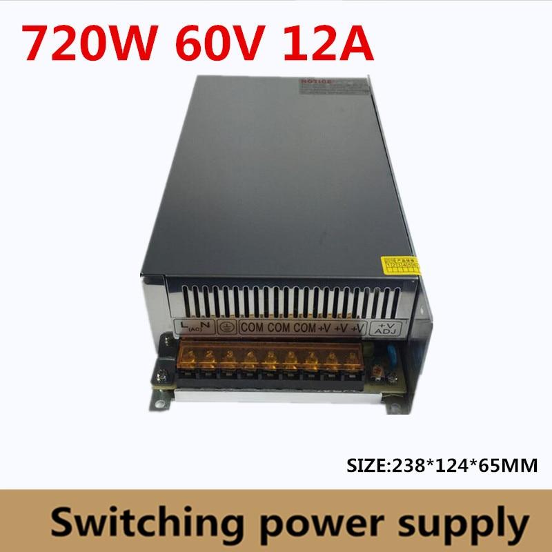 Switching Switch Power Supply DC 60V 12A 720W Voltage Transformer 220V AC DC60V SMPS For LED Strip Display Light CNC CCTVSwitching Switch Power Supply DC 60V 12A 720W Voltage Transformer 220V AC DC60V SMPS For LED Strip Display Light CNC CCTV