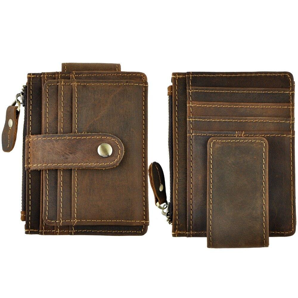 Männlichen Original Leder Design Mode Reise Schlank Brieftasche Front Tasche Magnetischen Große Kapazität Geld Clip Karte Fall Für Männer 1024