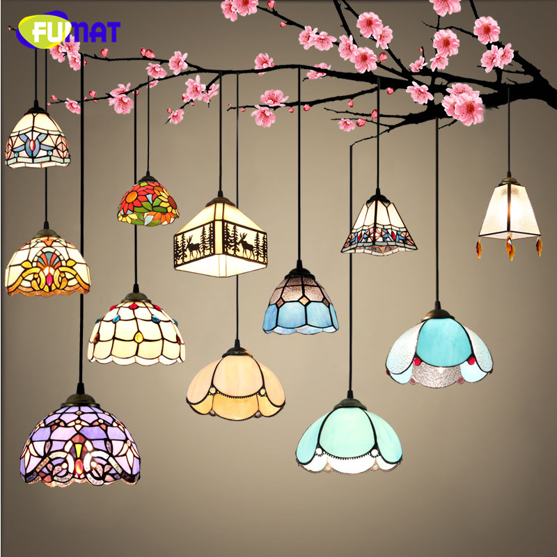 FUMAT Stained Glass Lights European Art Glass Lampshade Kitchen Living Room Lighting For Dining Room LED Decor Pendant Lights fumat stained glass pendant lamps european style baroque lights for living room bedroom creative art shade led pendant lamp