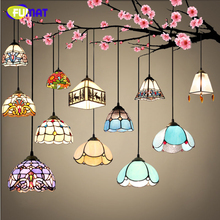 FUMAT Stained Glass Lights European Art Glass Lampshade Kitchen Living Room Lighting For Dining Room LED Decor Pendant Lights