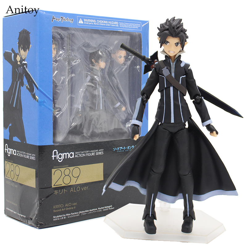 цена на Anime Figma 289 Sword Art Online II KIRITO ALO ver. ALOver Kirigaya Kazuto PVC Action Figure Collectible Model Toy 14cm KT2969