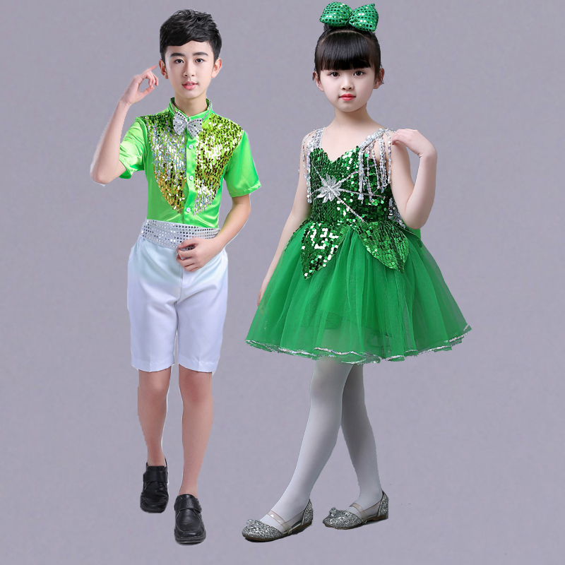 New Girl and boy's Sequins Dance Costume Children's Kindergarten Chorus Costume performance stage modern dance dress JQ-354