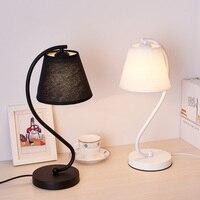 현대 LED 테이블 책상 램프 침실 거실 Schoolchildren 블랙 화이트 램프 디자인 침대 옆 테이블 밤 조명기구