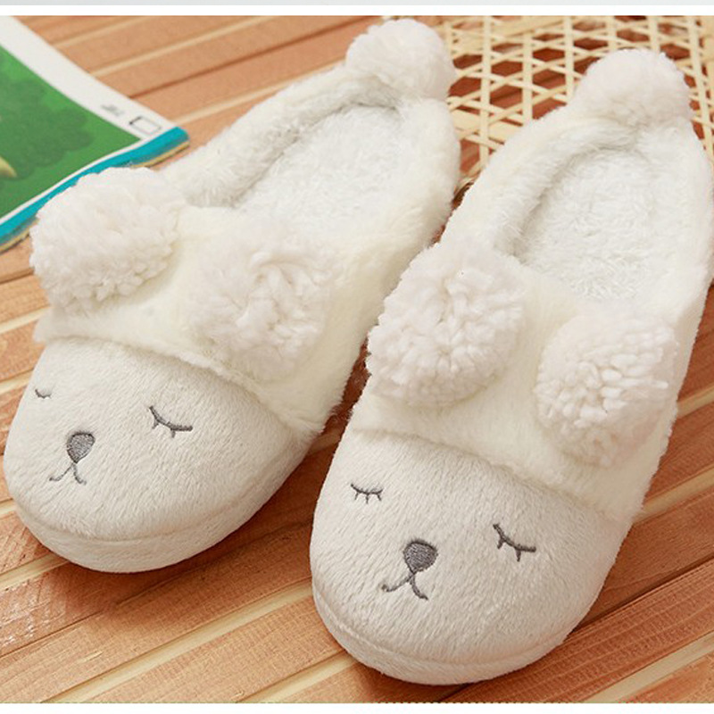 2017 New Warm Flats Soft Sole Women Indoor Floor Slippers/Shoes Animal Shape White Gray Pink Plush Home Shoes Home Slippers lin king winter warm soft indoor floor slippers women men shoes paw funny animal soft soft plush shoes high quality home shoes