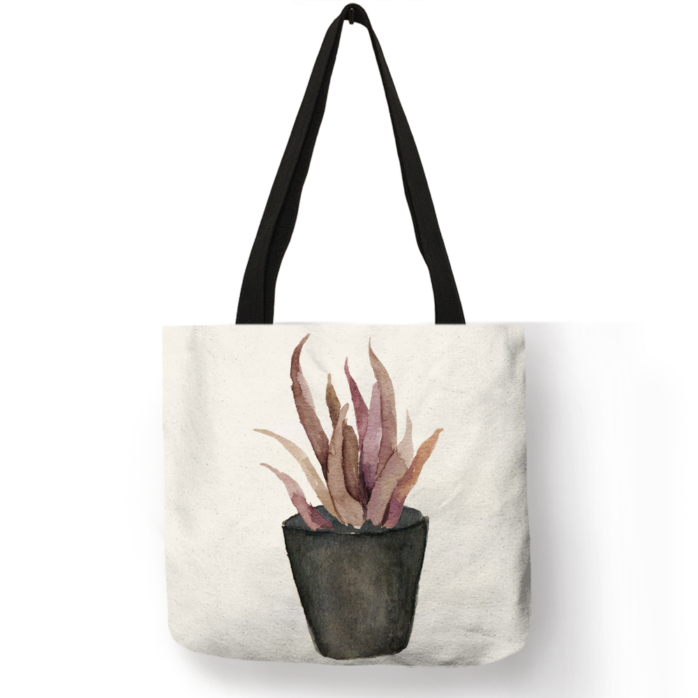 New Trendy Tote Bags for Women Potted Plant Cactus Prints Shoulder Bag Eco Linen Travel School