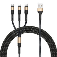 Three According to the 2.7A Fast Charge Woven Three-in-One Data Line Multi-Function Synchronous Charging Cable