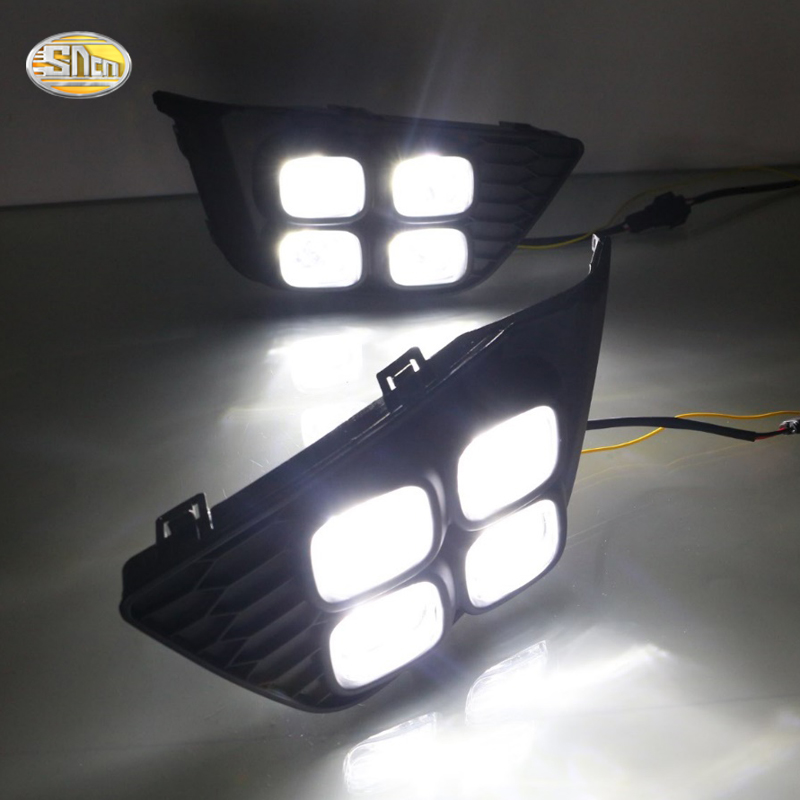 LED Daytime Running Lights for Honda Jazz 2014 2015 2016 Fit Fog lamp DRL with yellow turning signal lamp 2pcs led white yellow daytime running lights drl for honda fit jazz 2014 2015