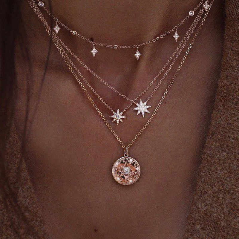 BUENOS 2019 Bohemian Multi Layer Pendant Necklaces For Women Fashion Golden Geometric Charm Chains Party Gift Jewelry Wholesale