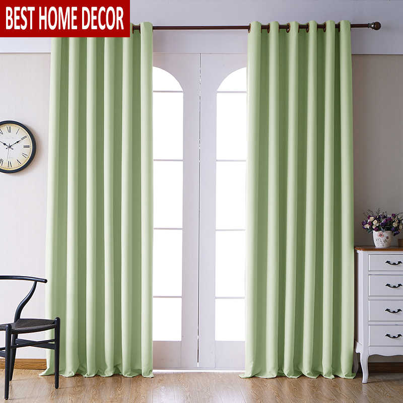 Modern blackout curtains for living room bedroom curtains for window treatment drapes green finished blackout curtains 1 panel