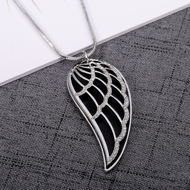 New 2018 Crystal Luxury Feather Angel wings Long Necklaces Pendants Rose Gold Fashion Collier Jewelry for women Dropshipping 21