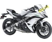 Hot Sales,For Kawasaki Ninja 650R 2017 2018 ER 6F ER6F 650 17 18 White Black Aftermarket Motorcycle Fairing (Injection molding)