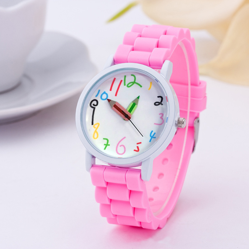 Fashion Paint Quartz Children's Watch Silicone Chain Does Not Hurt Skin Pencil Cute Digital White Oil Shell Student Watch
