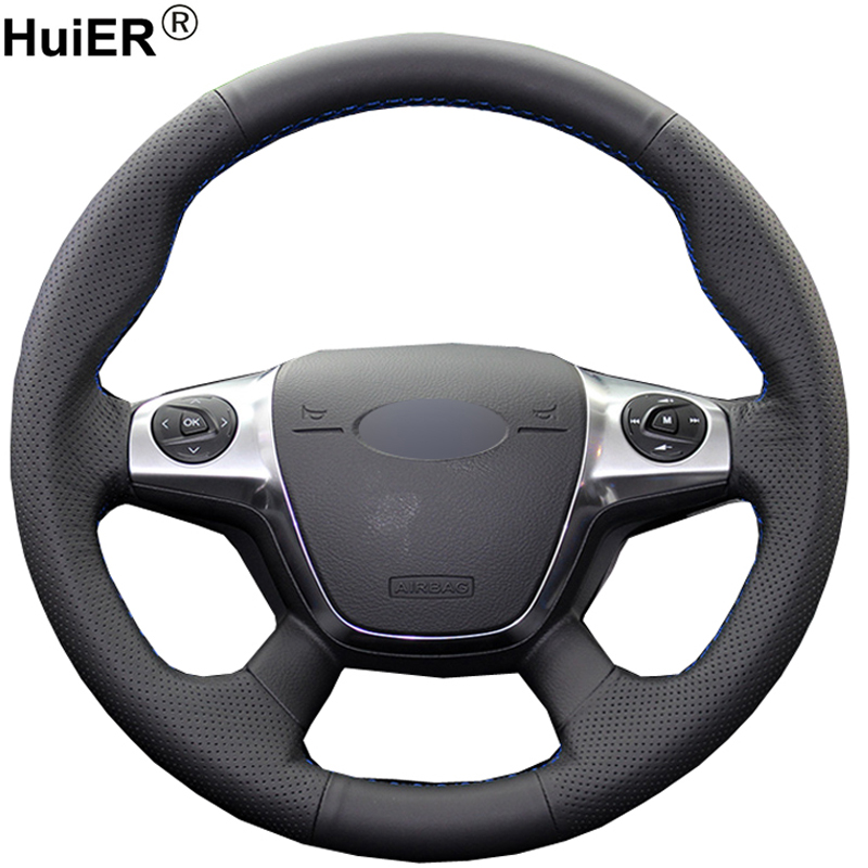 HuiER Hand Sew Car Steering Wheel Cover Microfiber For Ford Focus 3 2012-2014 Ford KUGA Escape 2013-2015 2016 C-MAX 2011-2014