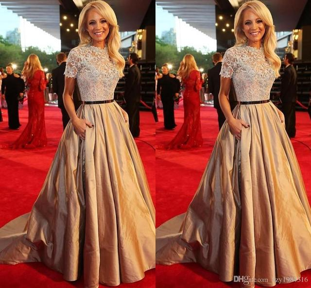 Crew Neck Lace Top Champagne Prom Dresses Ruched Skirt Train Elegant