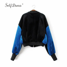 Фотография Self Duna 2017 Autumn Women Velvet Bomber Jacket Short Vintage Loose Black Blue Winter Zipper Casual Ladies Baseball Jacket Coat