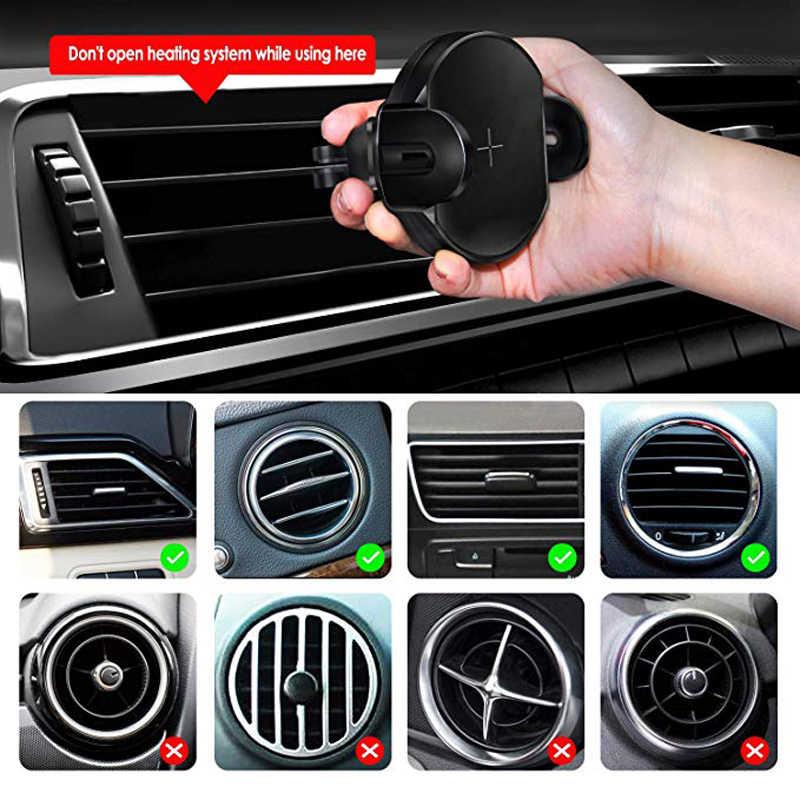 Carro infravermelho inteligente sem fio carregador de indução automática aberto perto titular do telefone móvel smartphones carga rápida 10 w carregamento