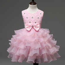 Elegant Wedding Girl Flower Dress Solid Layer Diamond Bow Decoration Tulle Flower Princess Wedding Dresses for 3 to 8 Years
