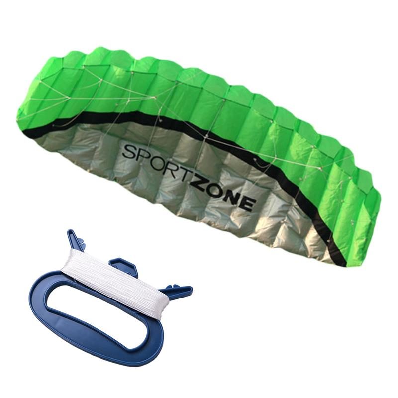 RUNACC Soft Parafoil Kite Dual Line Parachute Kites Foldable Training Kite with Storage Bag 1 Kite Handle with Line Green