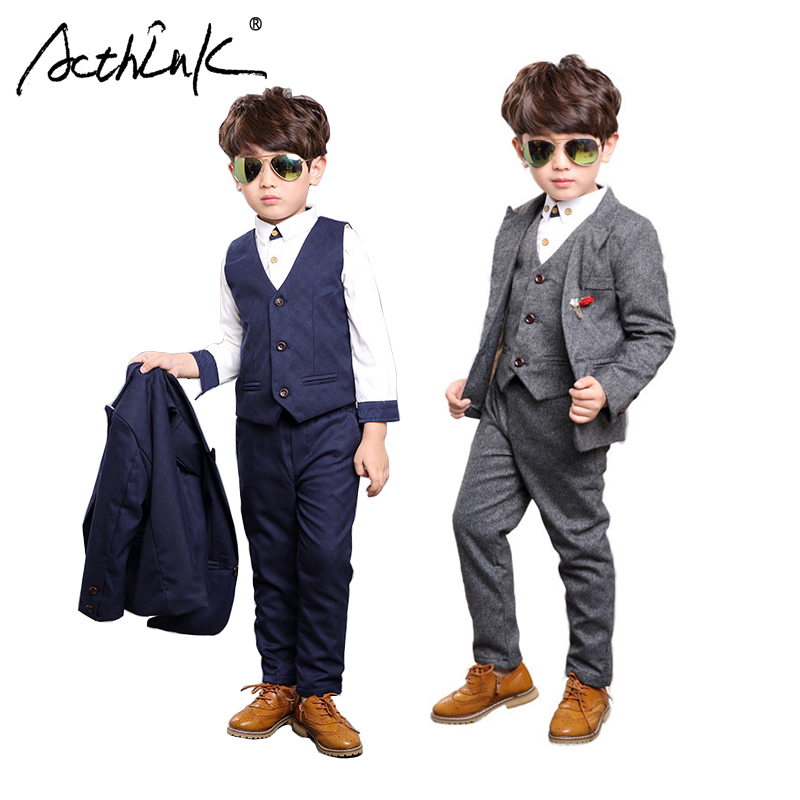 ActhInK New Design 3Pcs Boys Solid Wedding Suit Brand Gentle Kids Blue Grey Waistcoat Suit Boys Spring Formal Brooch Blazer Suit acthink new boys summer formal 3pcs shirt shorts waistcoat suit children england style wedding suit with bowtie for boys zc033