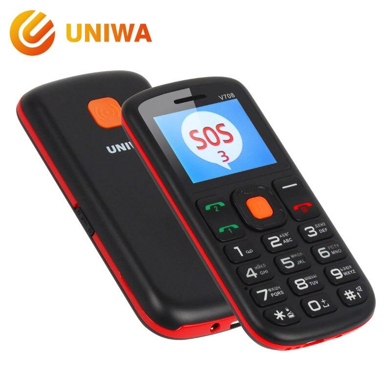 Uniwa V708 característica teléfono móvil soporte de carga superior niños Mini teléfono teclado ruso 2g GSM Push botón SOS grande teléfono Móvil de la llave