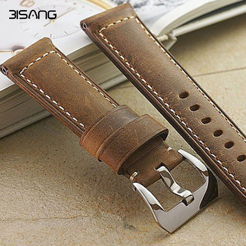 Brown Leather Strap Genuine Watch Strap 24MM Soft Calf Watchband For <font><b>PAM</b></font> , handmade men's <font><b>bracelet</b></font>, free shipping image