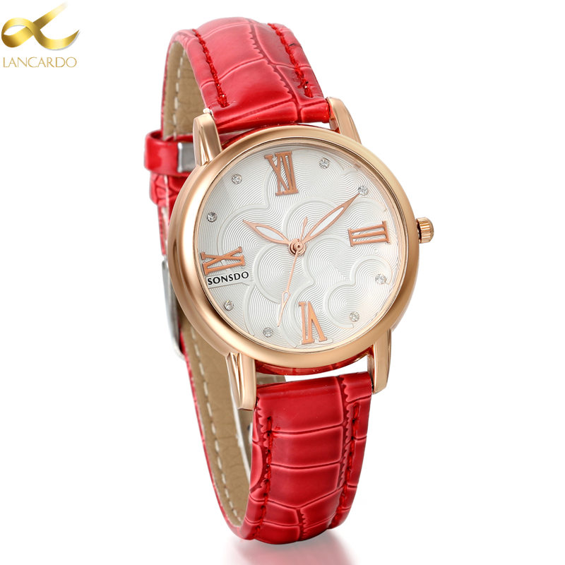 Lancardo Luxury Brand Women Watches Red Leather Watch Fashion Simple Stylish Ladies Wrist Relogio 4 Colors