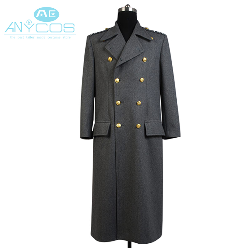 Torchwood Doctor Captain Jack Harkness Wool Trench Coat Dark Blue Version Halloween Cosplay Costume