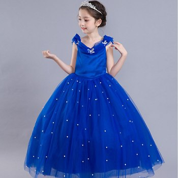 Princess Cinderella Dress up Clothes Girl Off Shoulder Pageant Ball Gown Kids Deluxe Fluffy Bead Halloween Party Costume 3