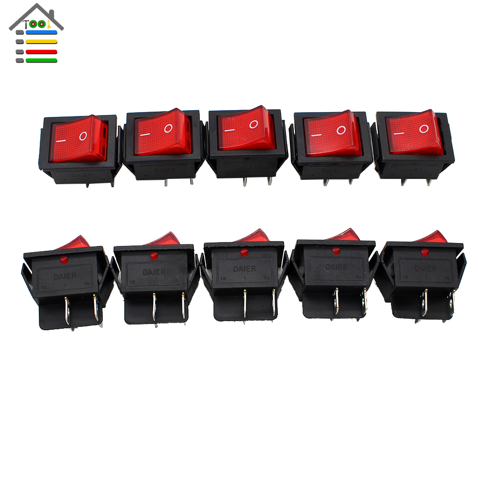 AUTOTOOLHOME 10Pc RED Button Rocker Switch 16A(MAX 250V) LED Dot Light Car Boat Round Rocker ON/OFF SPST Switch 4 Pins Toggle 4pcs car 220v round rocker dot boat led light toggle switch spst on off top sales electric controls