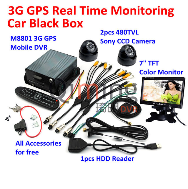Best Quality Hard Disk Car Black Box 2pcs Cameras 1pcs Monitor Screen 1pcs HDD Reader, All Car Black Box Kit Need are Included