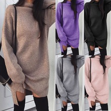 VITIANA Women Loose Casual Dress Female 2018 Autumn Winter Long Sleeve Solid Khaki Knitted Elegant Sweater Office Work Dresses