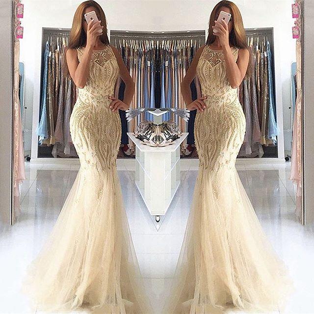 New Style 2020   Prom     Dresses   O-Neck Sleeveless Floor Length Beading Tulle Evening   Dresses   Vestido de festa