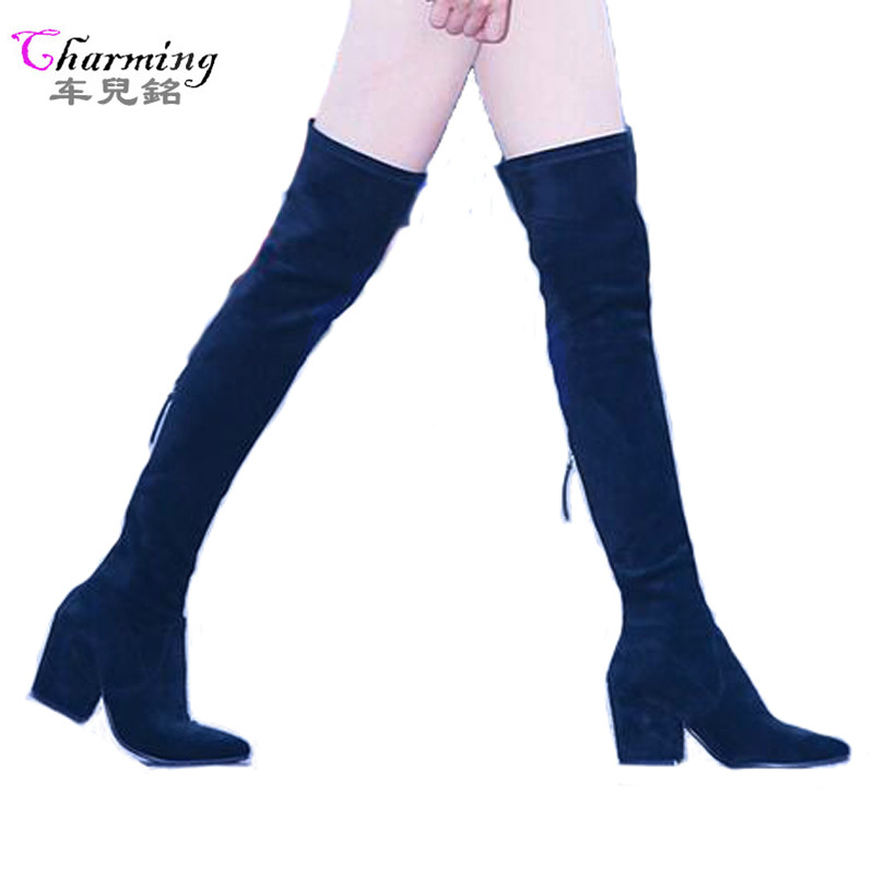 2017 Hot Women Boots Winter over knee long boots fashion boots heels autumn quality suede comfort square heels plus size ALF516