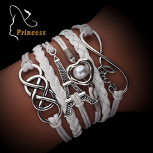 Infinite rudder multilayer anchor love charm bracelets vintage accessories jewelry leather