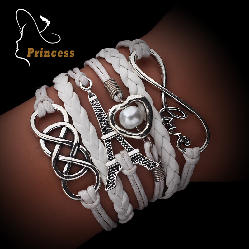 Vintage Fashion Infinite Multilayer Leather Bracelets Love Anchor Rudder 8 Bracelets For Women Charm Jewelry Accessories